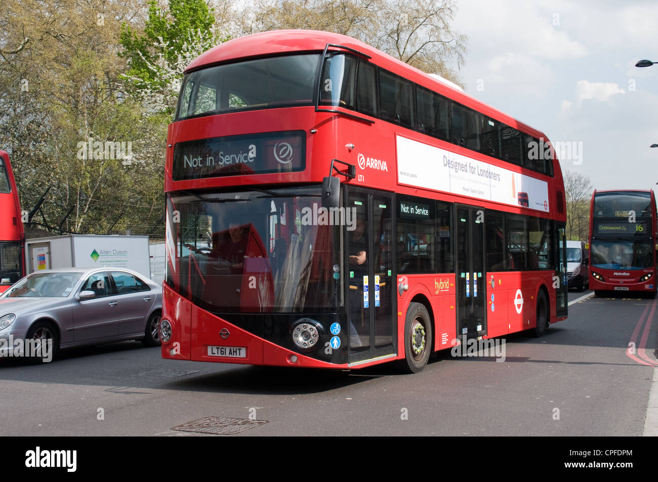 The New bus for London on a trail run in Grosvenor Place, London. Eight buses will be used as prototypes to test - Stock Image
