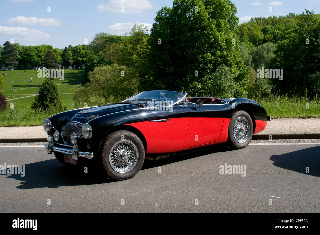 An Austin Healy 3000 sports car is on display at a car show in Brussles, Belgium. - Stock Image