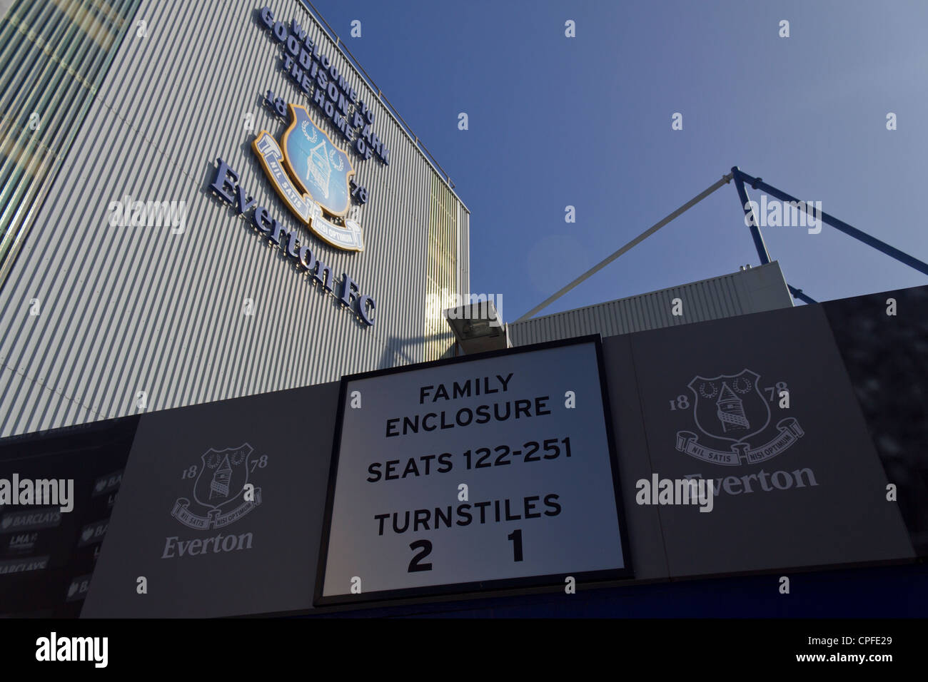 Exterior of Goodison Park, Home of Everton Football Club Stock Photo