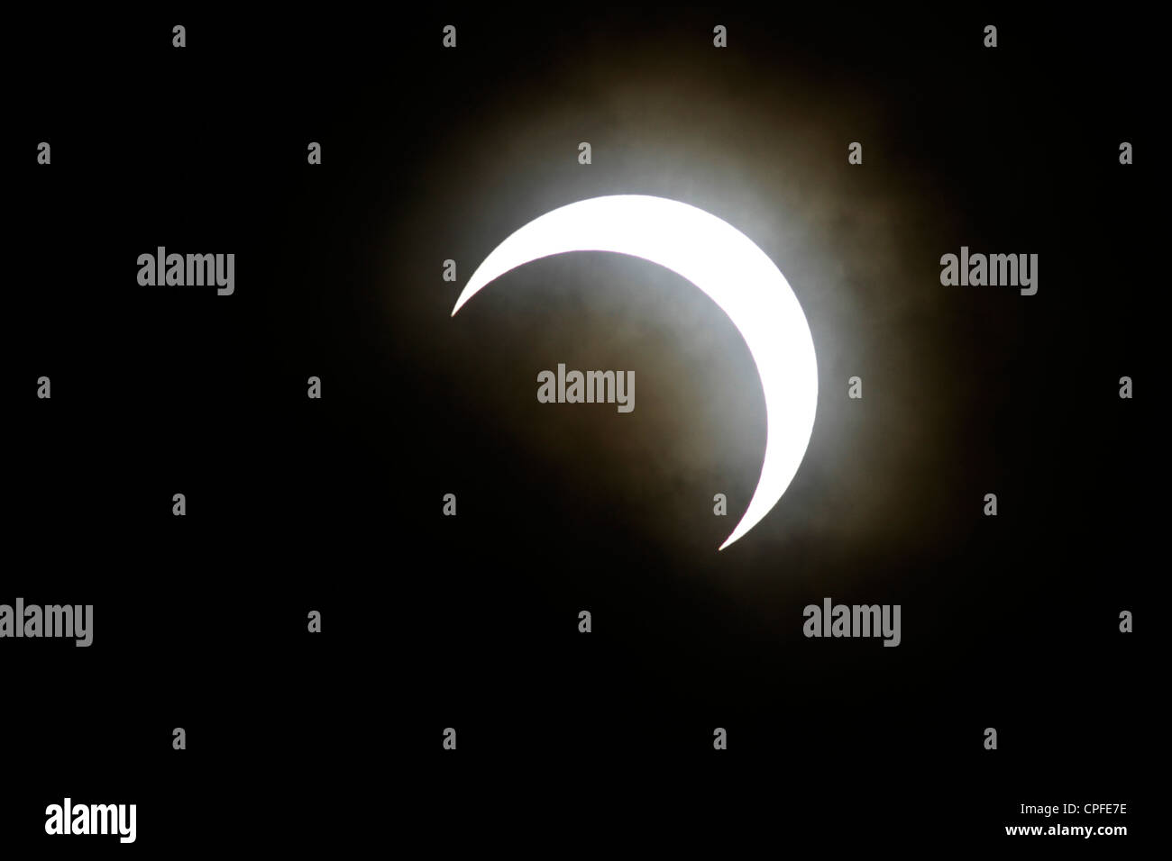 Annular Solar Eclipse of 2012 May 21 seen in Tokyo Japan - Stock Image