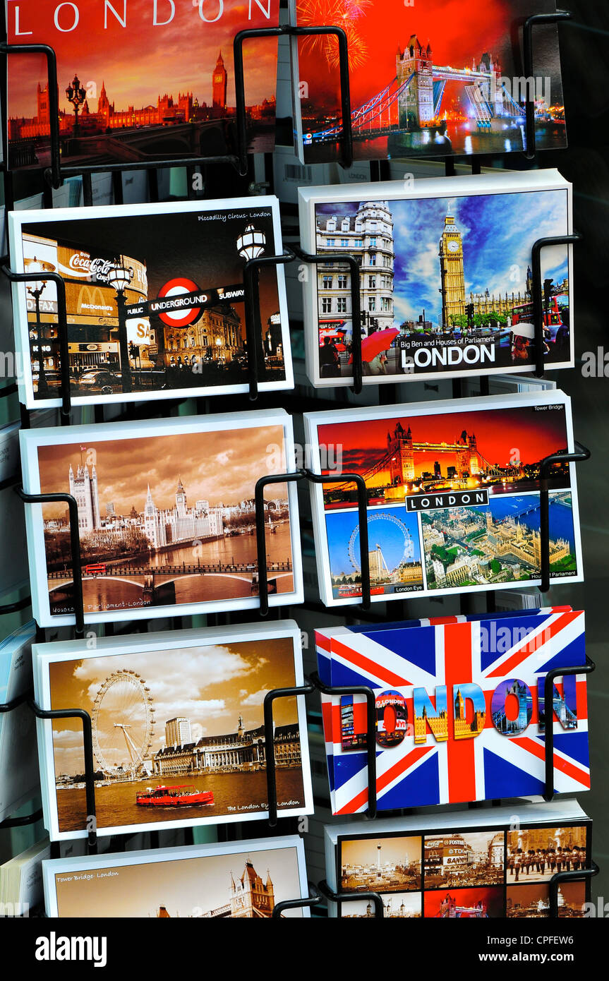 Postcards for sale, London, England Stock Photo