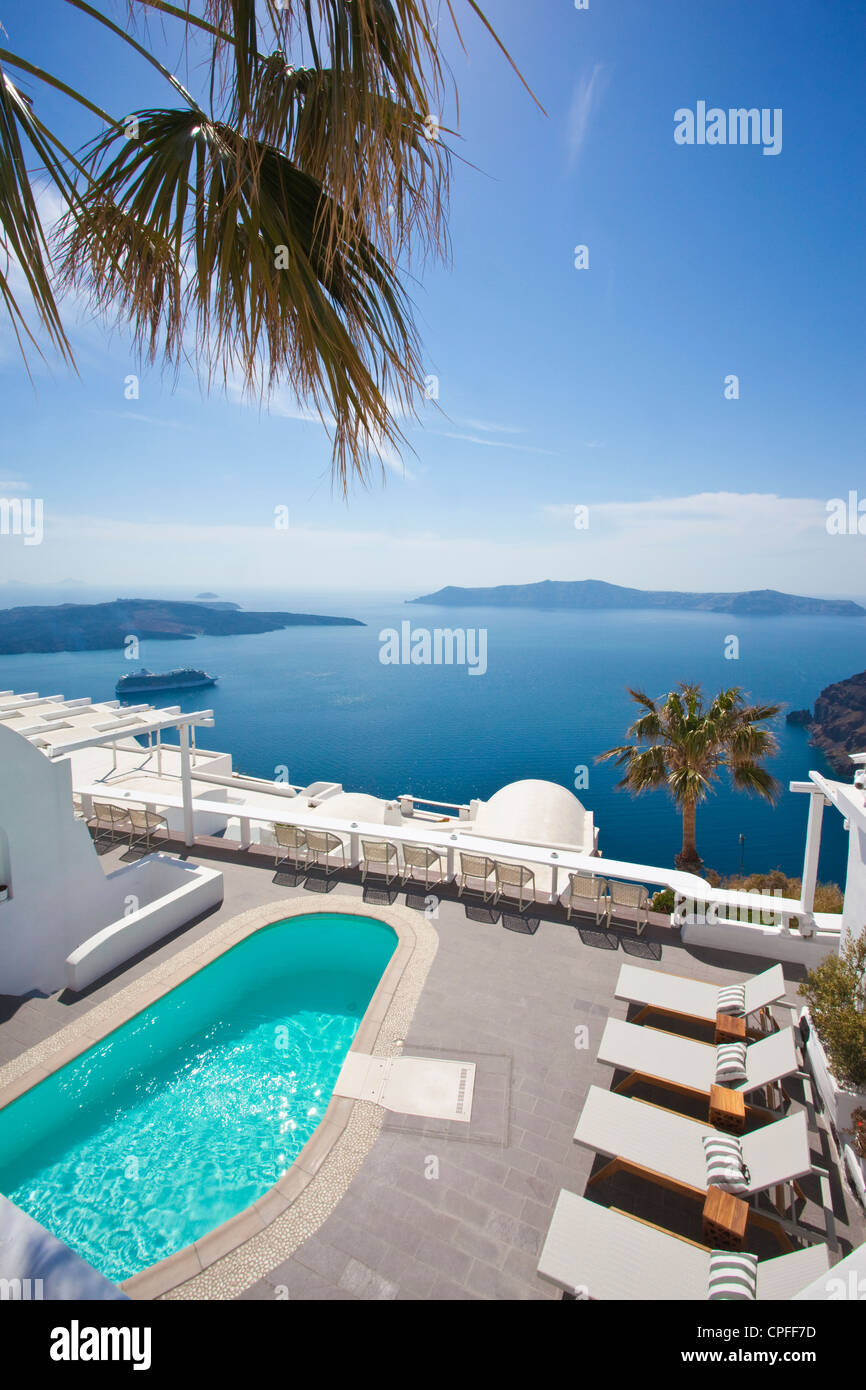 View over Millhouses studios looking out onto the Aegean Sea, Firostephani, Santorini, capital of the Island, Cyclades, - Stock Image