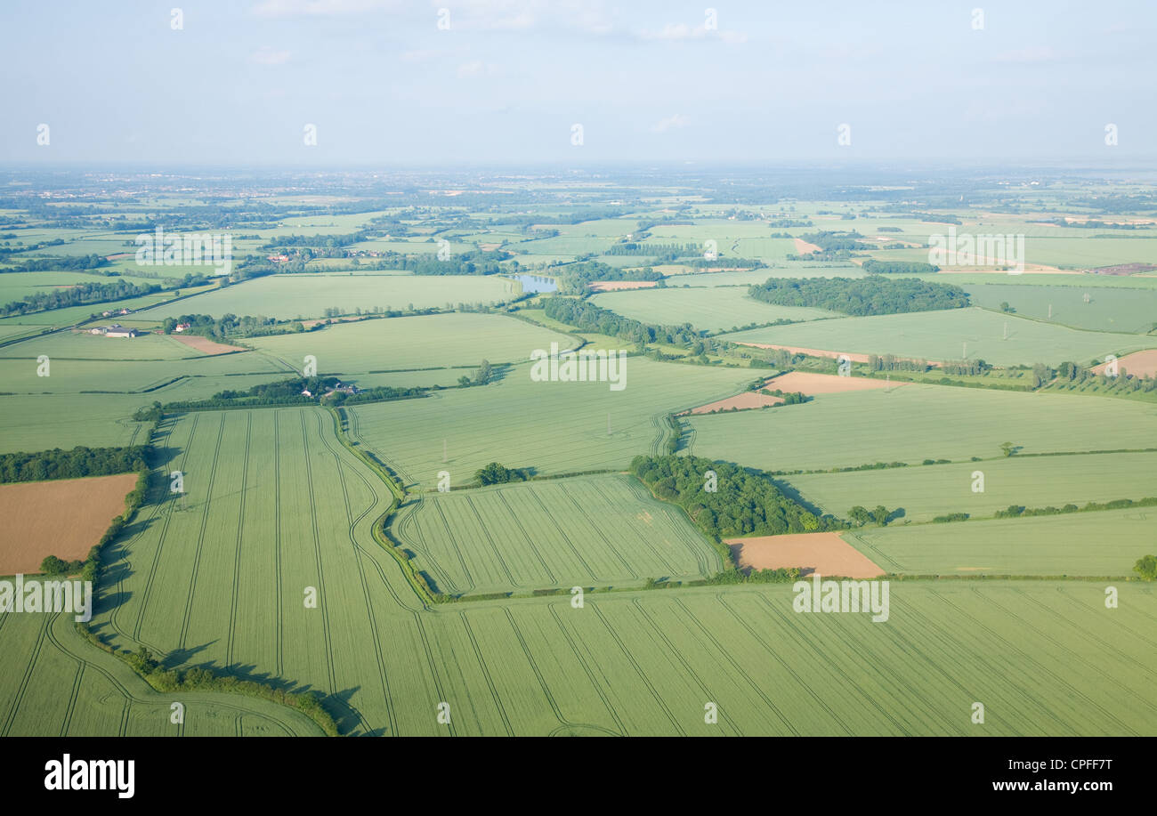 view over the early summer green fields from hot air balloon; East Anglia; UK; - Stock Image