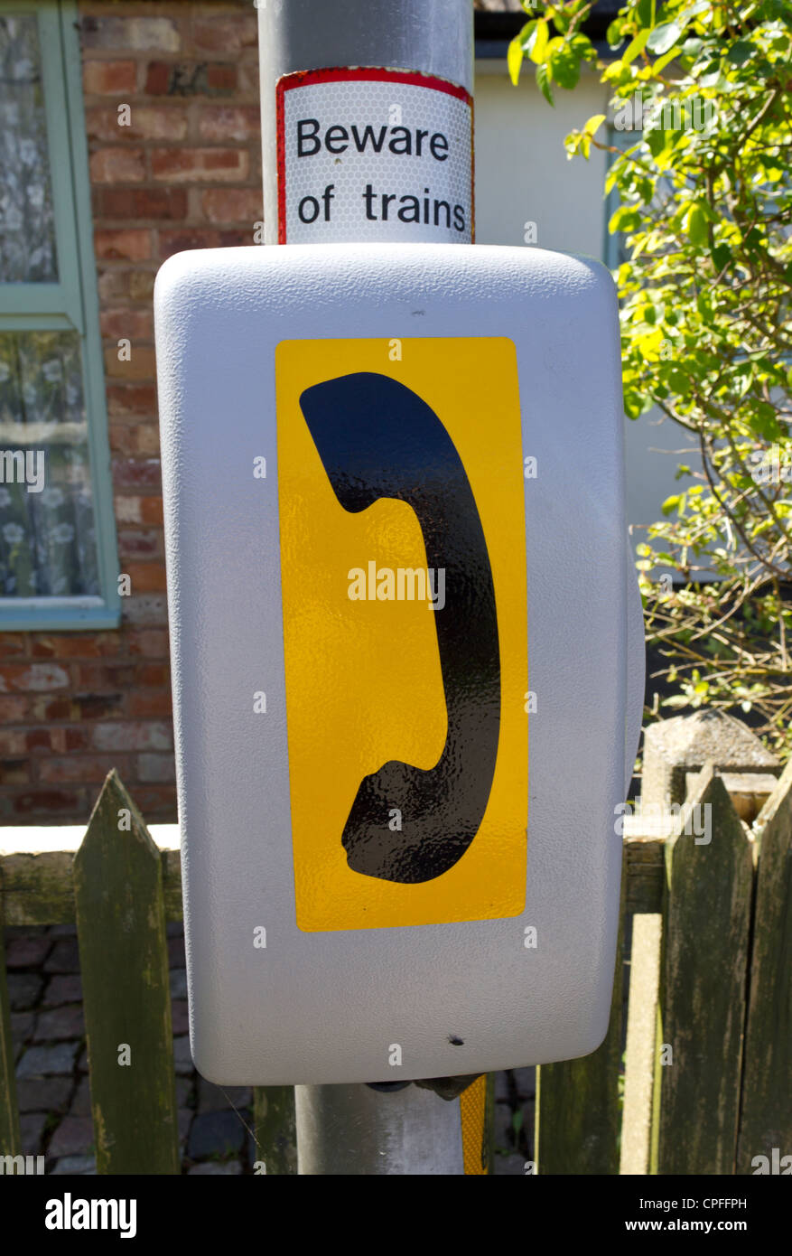 An emergency phone, commonly found near a railway crossing