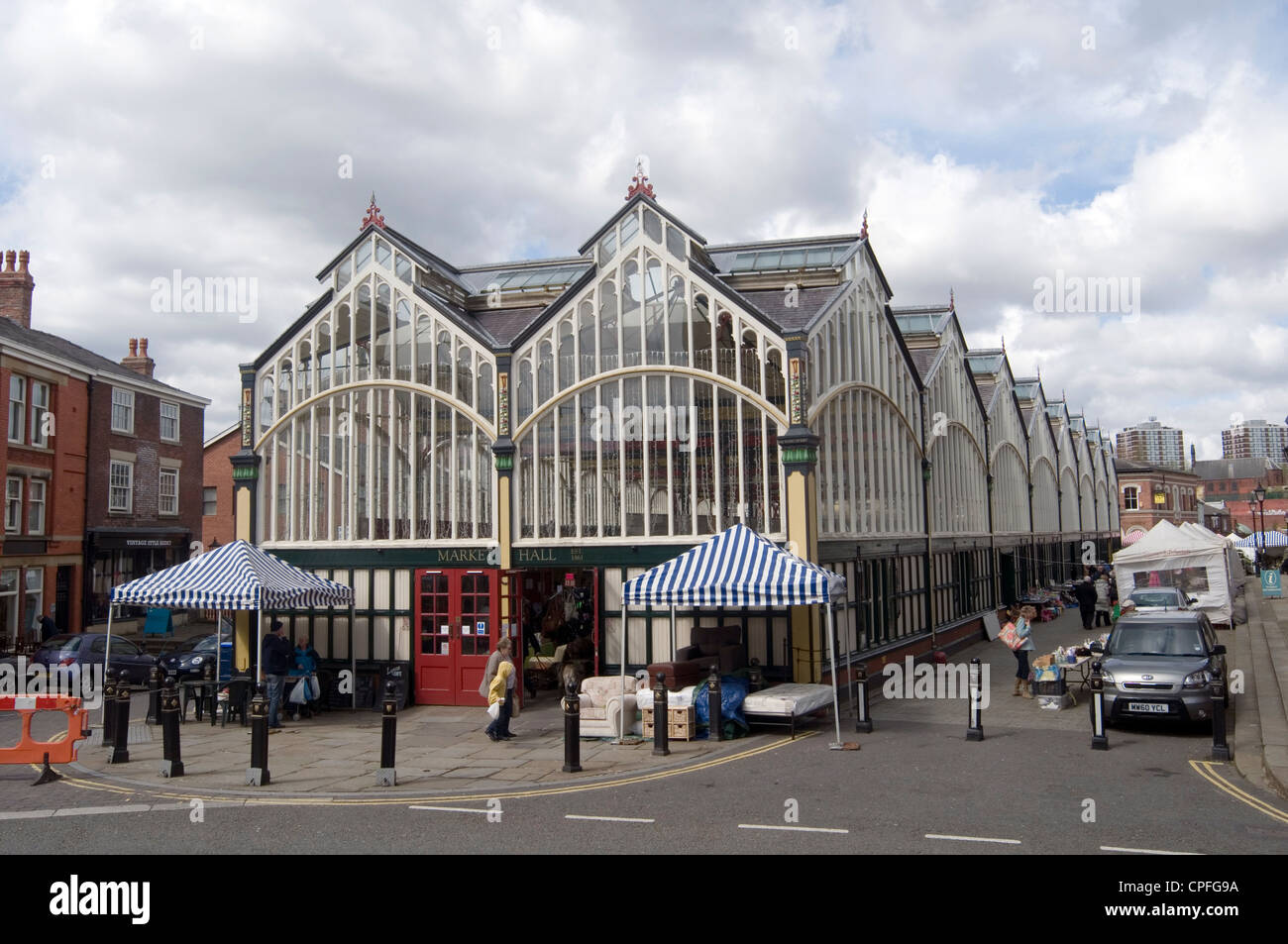 Stockport indoor market uk glass Victorian buliding - Stock Image
