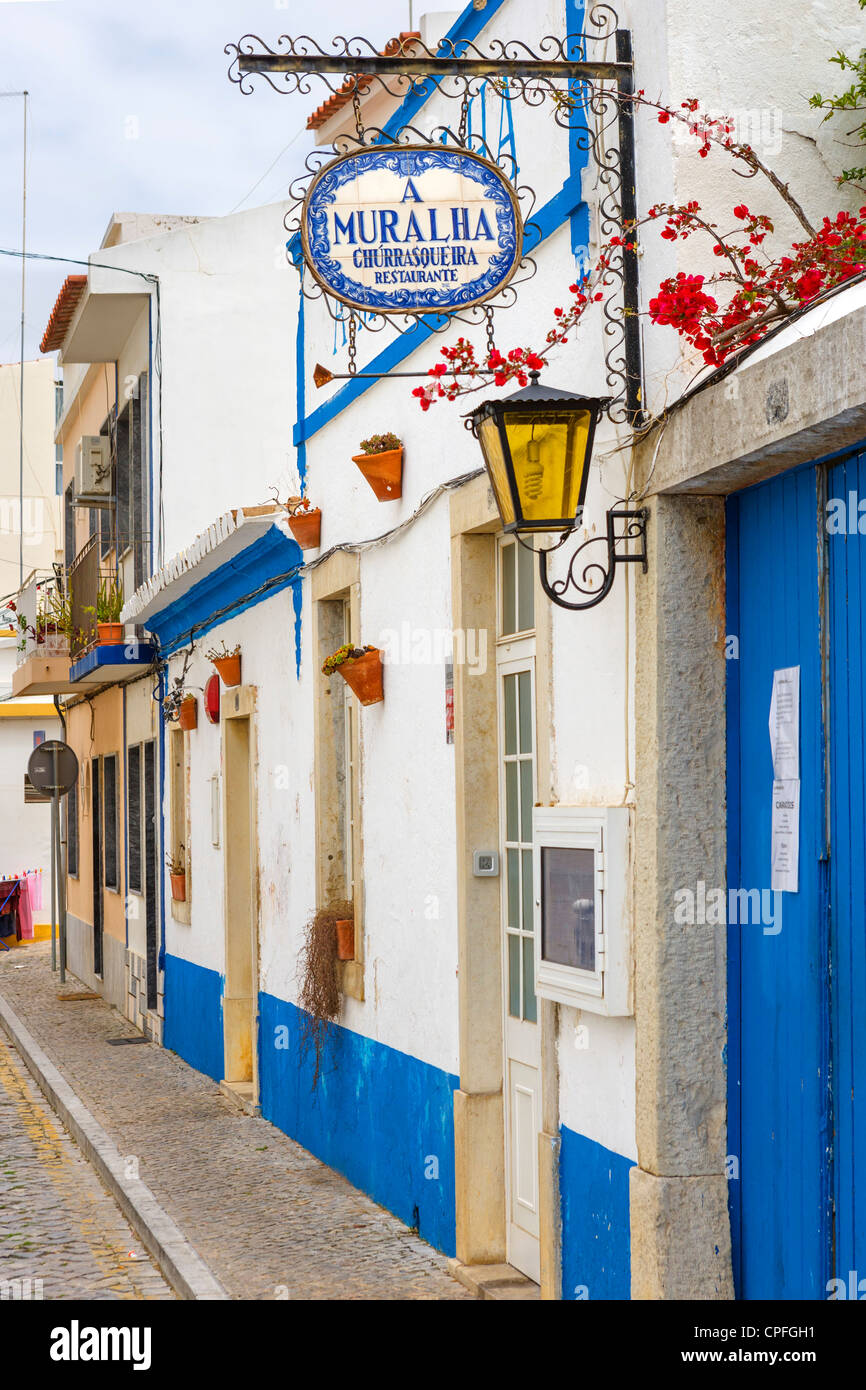 Restaurant in the inland town of Loule, Algarve, Portugal - Stock Image