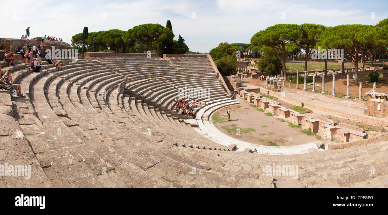 The cavea of the theatre at the ancient roman port town ruin of Ostia near Rome. - Stock Image
