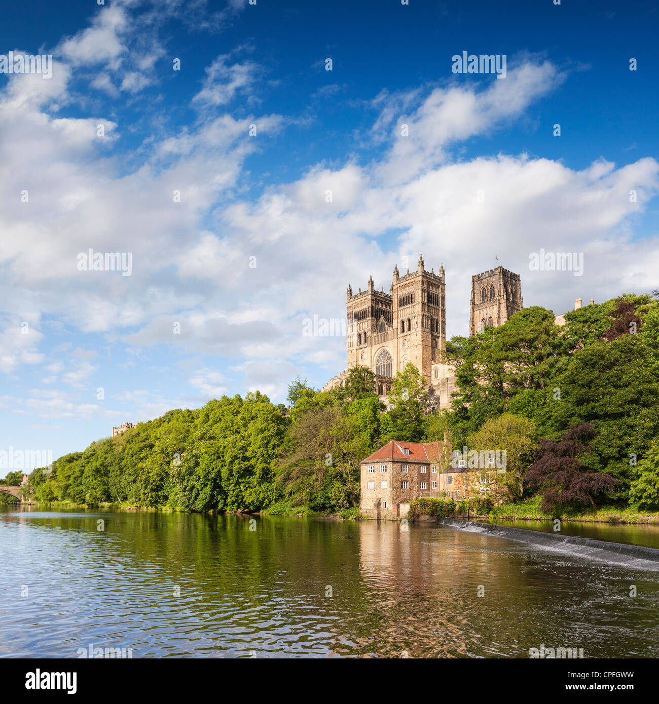 Durham Cathedral, on its rocky outcrop above the River Wear, in County Durham, England. Stock Photo