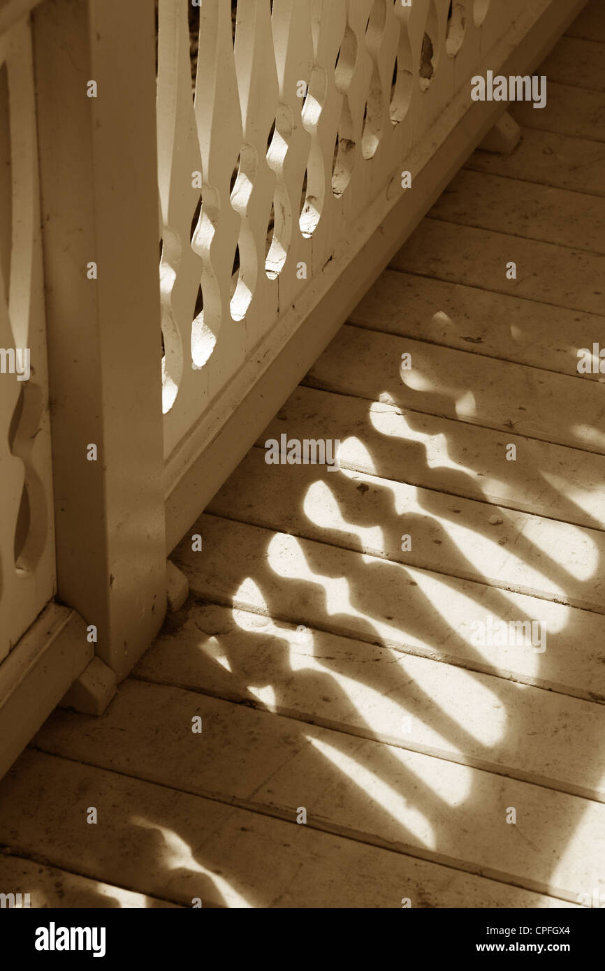 old style porch fence, close up - Stock Image