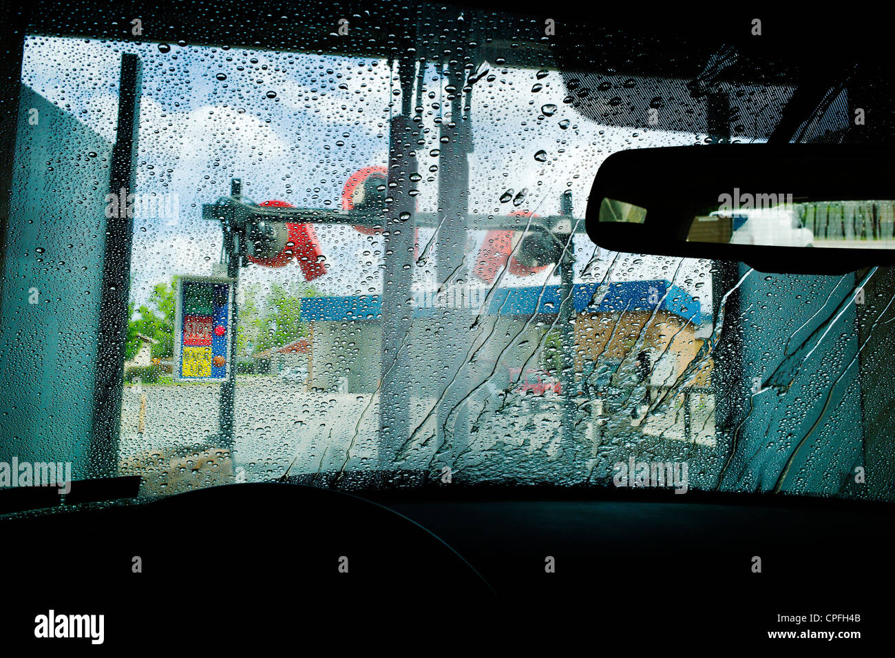 View through auto windshield, car wash - Stock Image