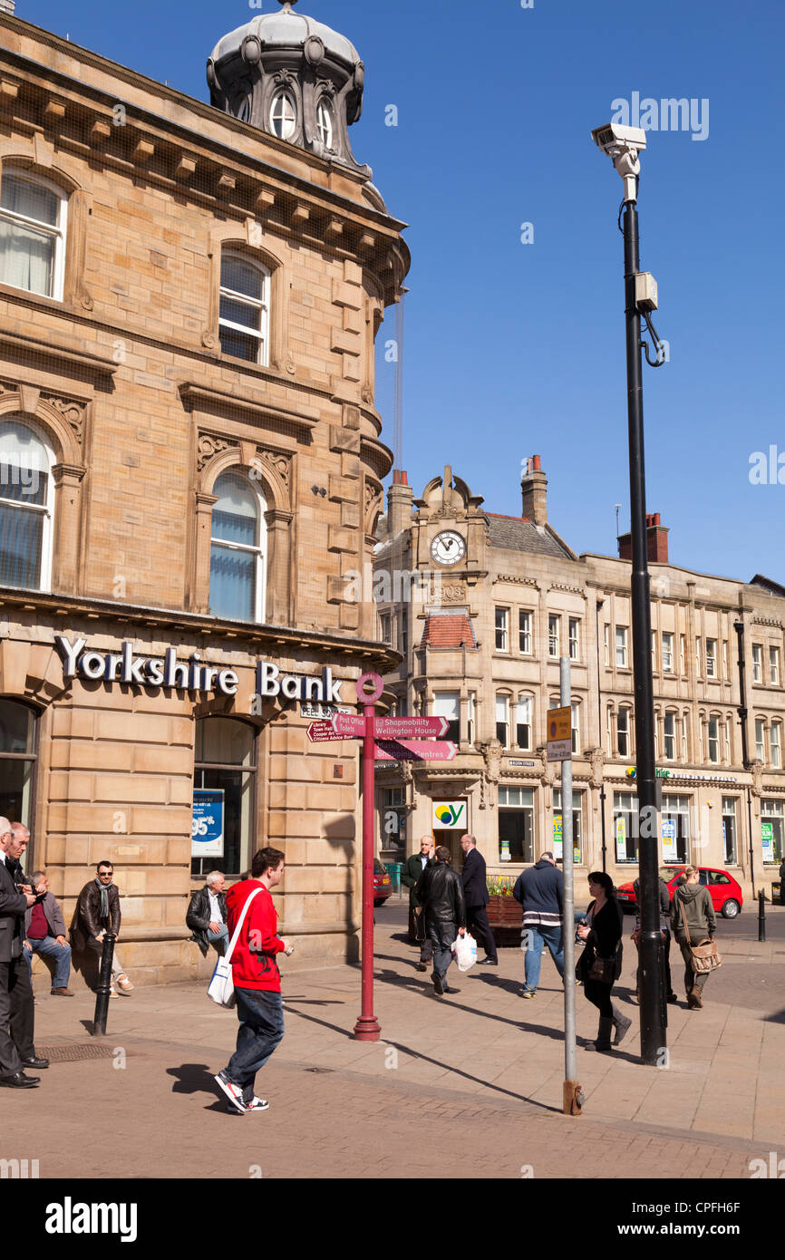 Yorkshire Bank and people walking Barnsley South Yorkshire - Stock Image