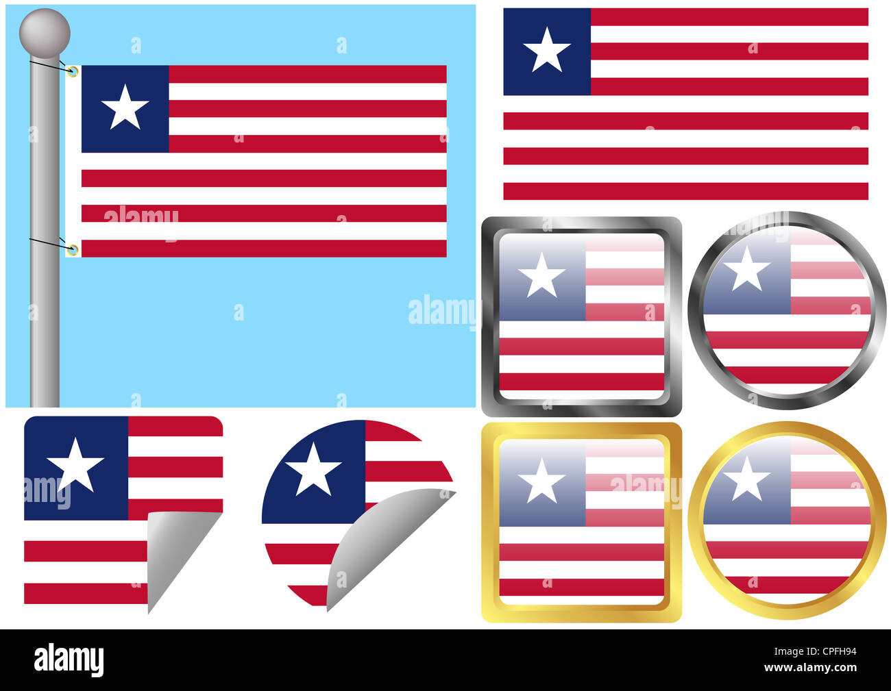 Flag Set Liberia - Stock Image