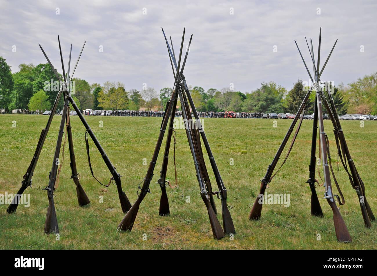 Rifles pyramids, Civil War reenactment  , Bensalem, Pennsylvania, USA - Stock Image