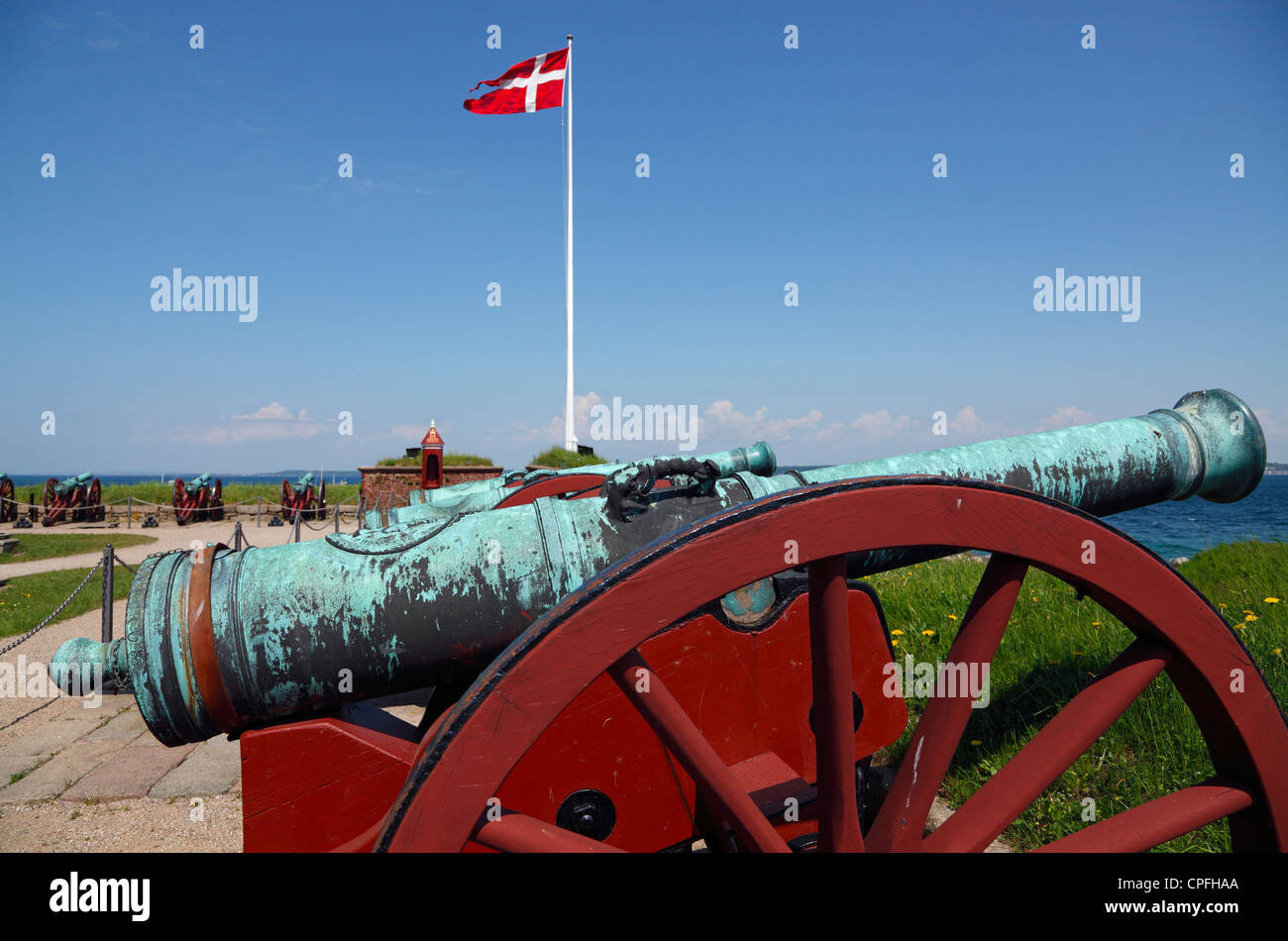 Flag Battalion on the castle Kronborg, Elsinore, Denmark. Cannons pointing towards the Oresund (the Sound) - and - Stock Image