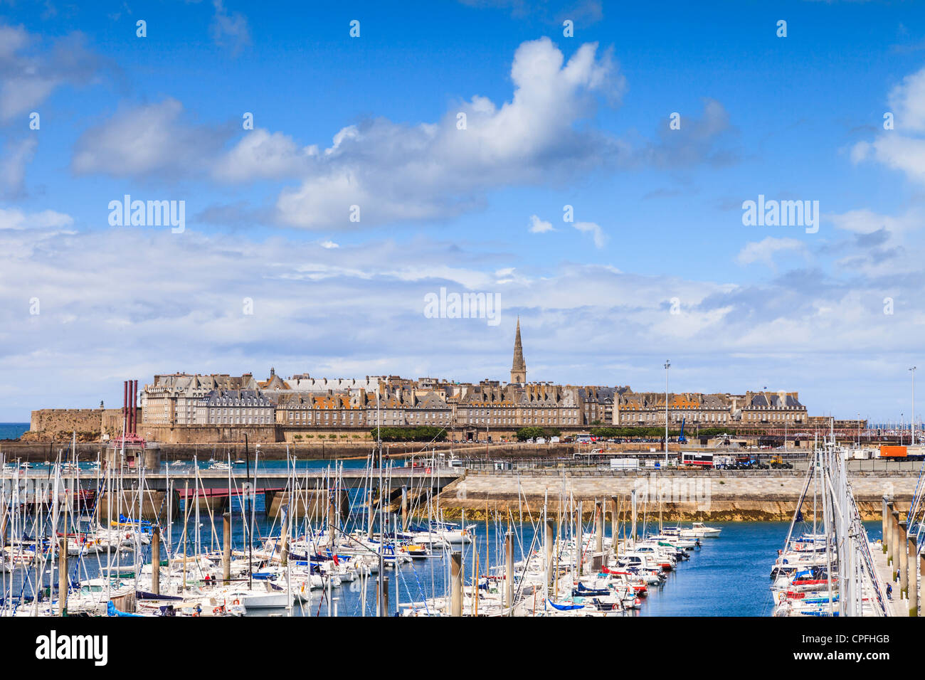 Looking over the marina to St Malo - Stock Image