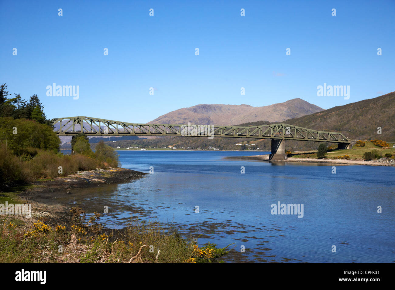 Ballachulish bridge over the narrows between loch leven and loch linnhe carrying the a82 road highlands scotland - Stock Image