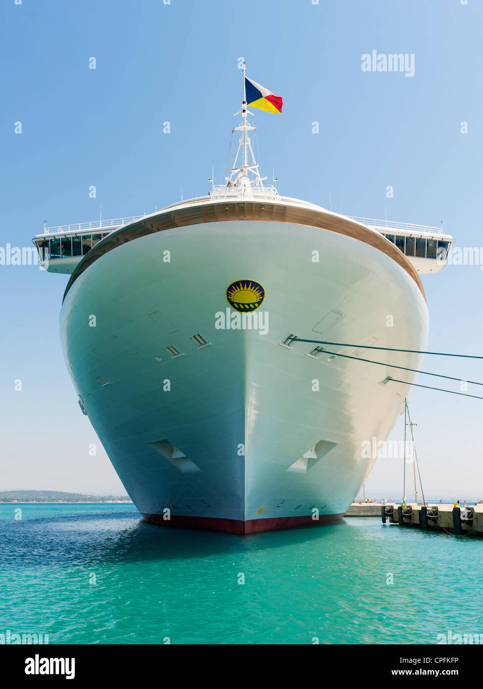 P & O Cruise ship, MS Azura (christened 2010), docked at Katakolon, Greece. - Stock Image