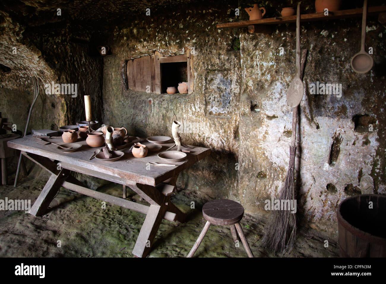 Prehistorical and medieval troglodit village of La Roque Saint Christophe on the Vézére river Aquitaine Dordogne - Stock Image