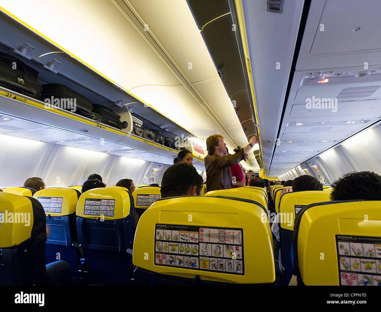Ryanair airplane interior - Stock Image