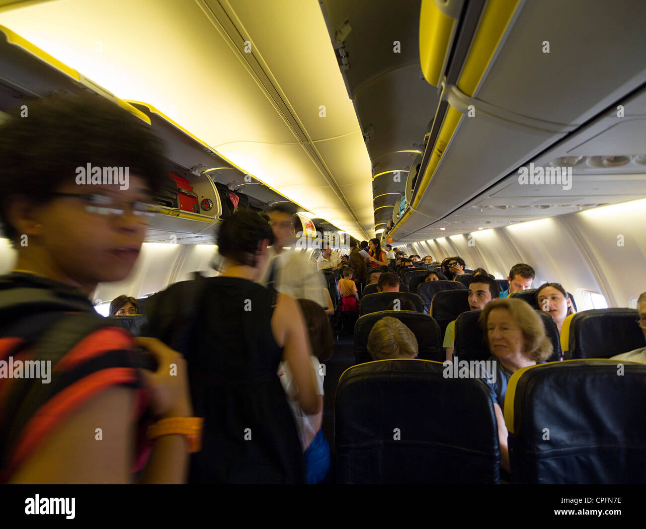 Ryanair Airplane Interior   Stock Image