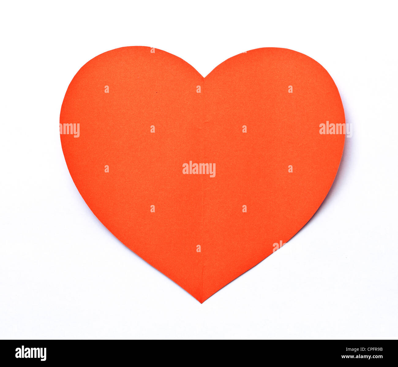 Red Heart paper shape symbol on white - Stock Image