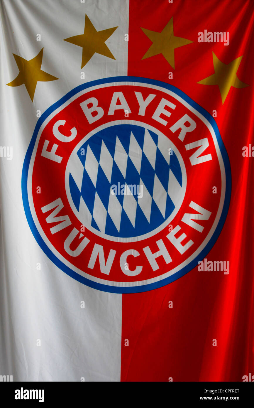 The flag of the football club of FC Bayern Munchen in the city of Munich capital of  Bavaria. Germany - Stock Image