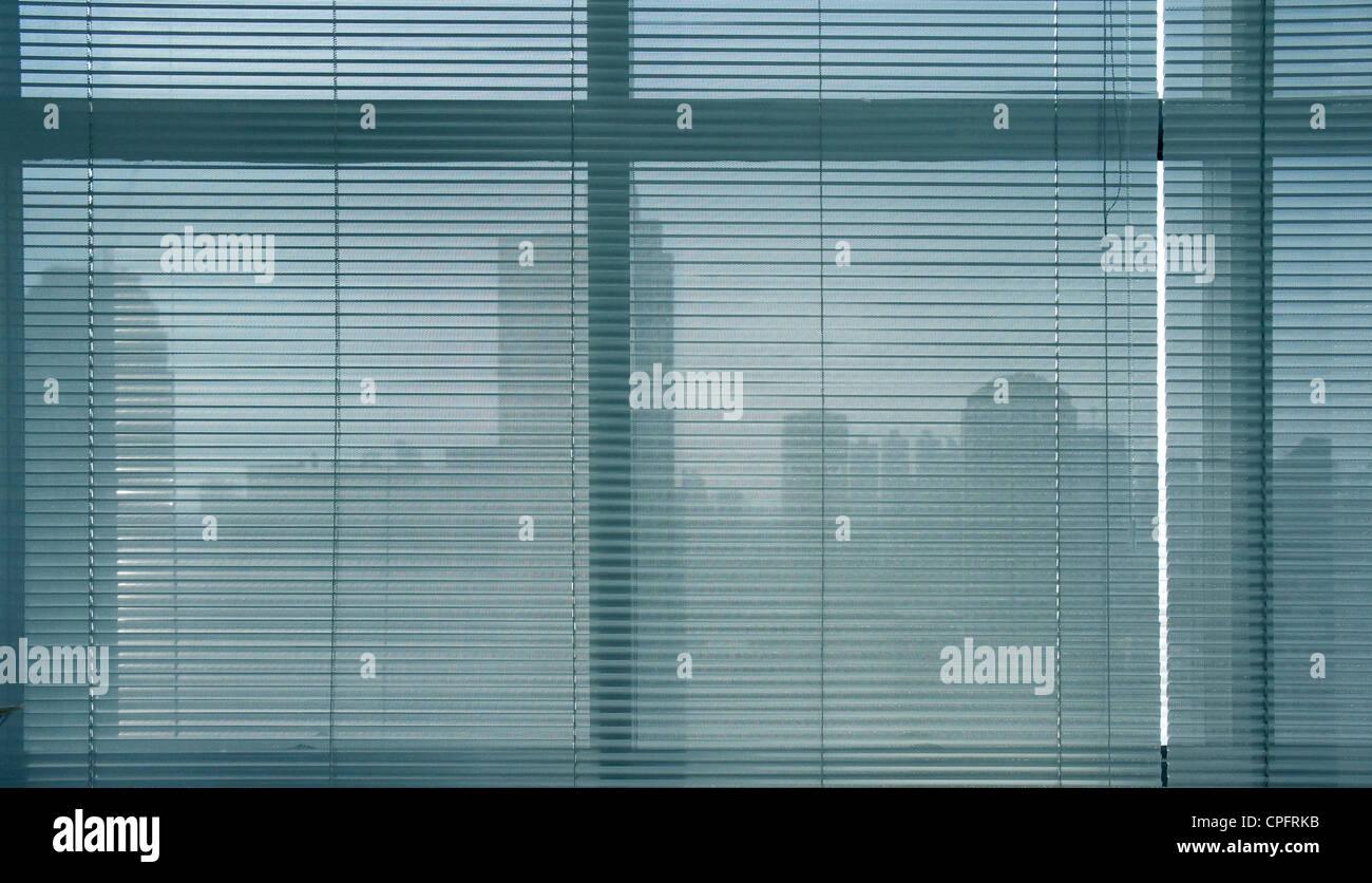 close-up modern aluminum Shutter Blinds. - Stock Image