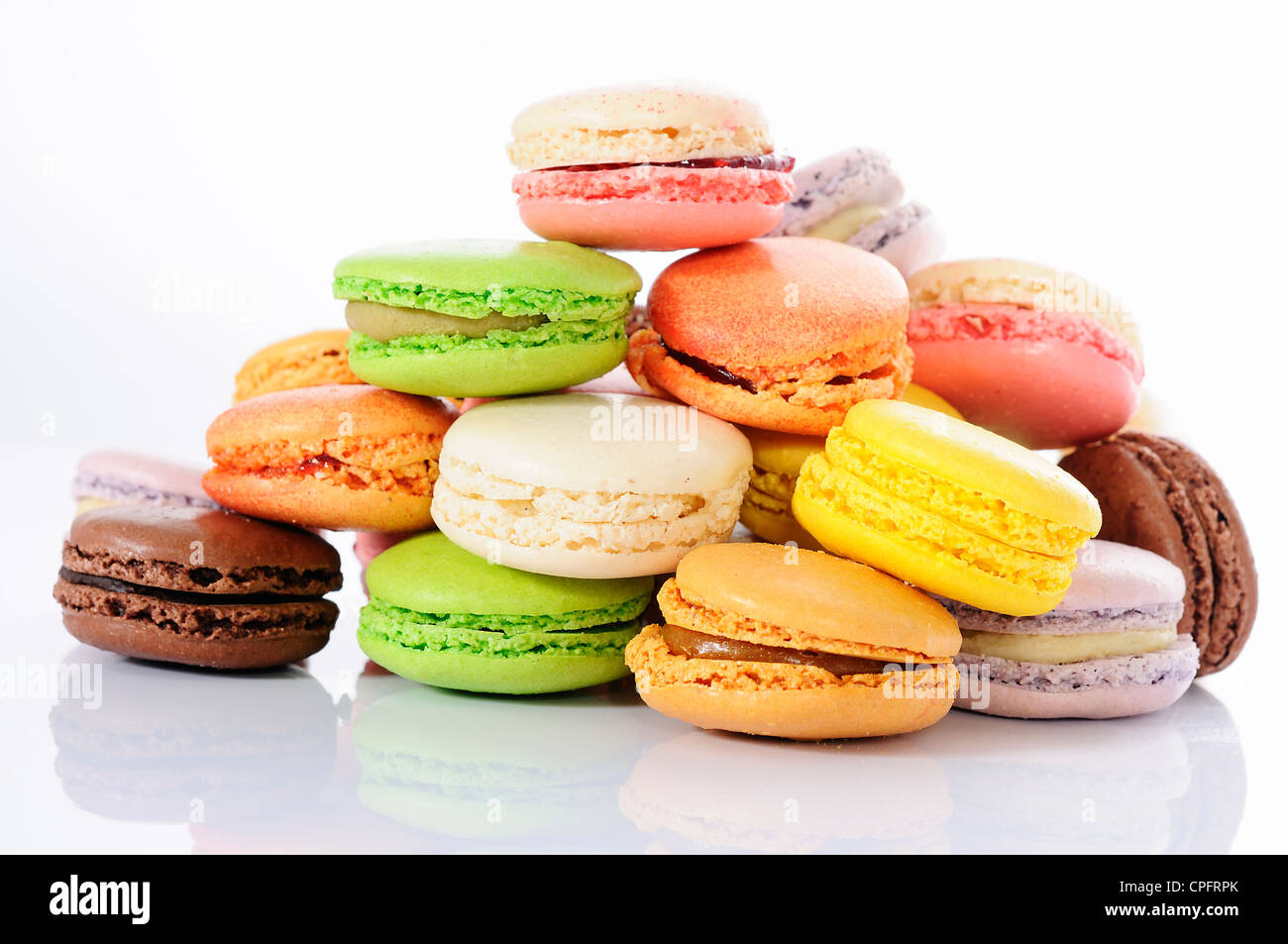 Colorful macaroons on white background Stock Photo