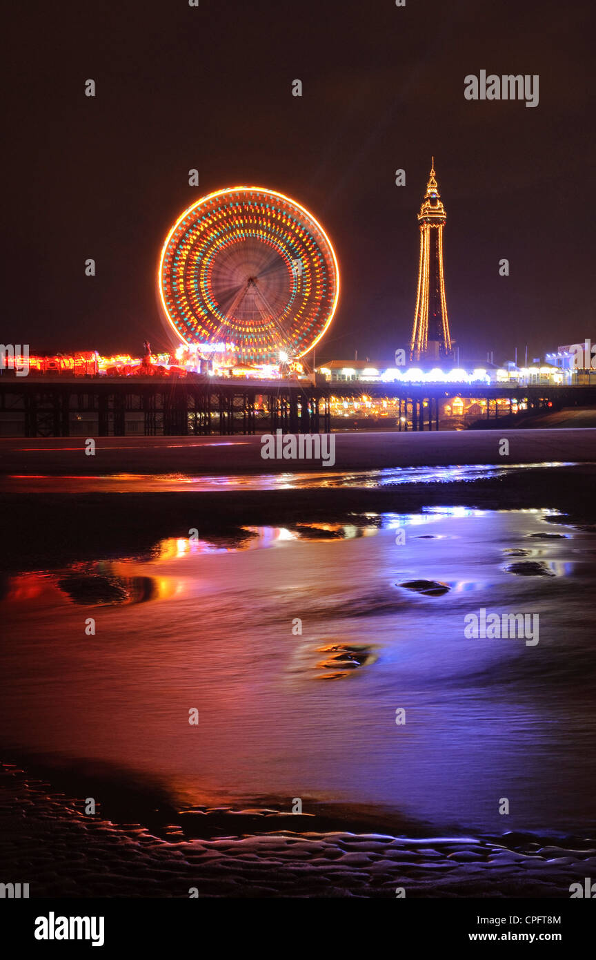 Central Pier and Blackpool Tower during Illuminations Blackpool England Stock Photo