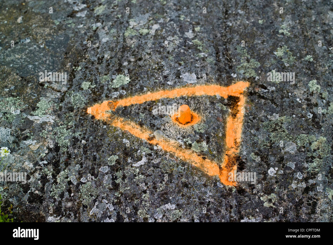 reference point marked with orange paint - Stock Image