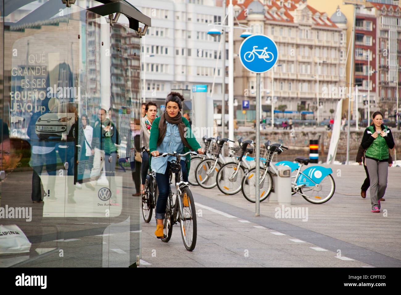 Bike lane Santander Cantabria Spain - Stock Image