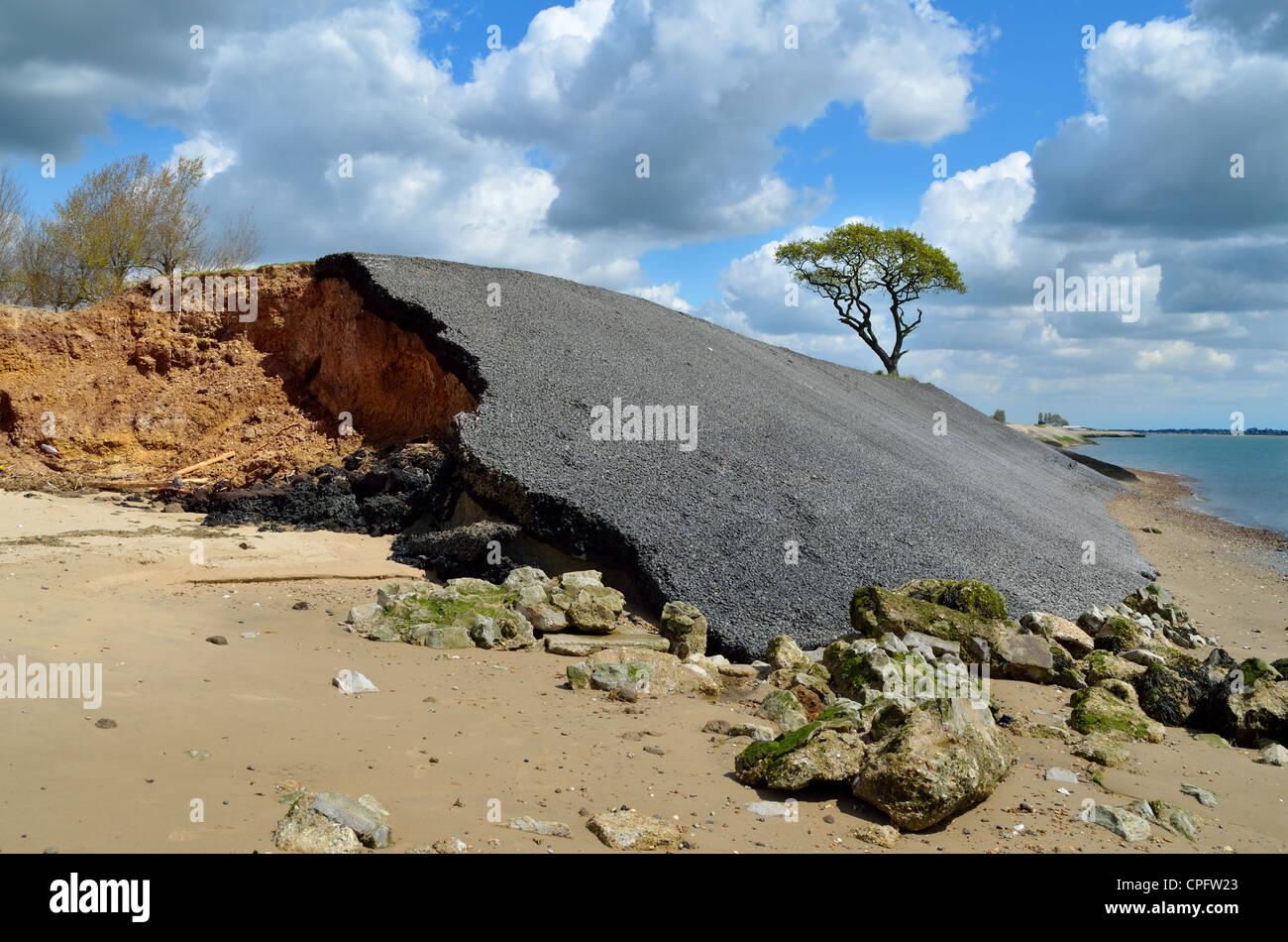 The effects of coastal erosion on the shoreline - Stock Image