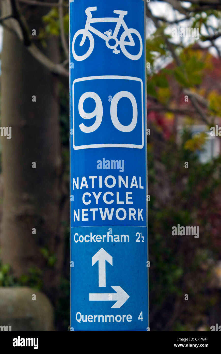 National Cycle Network signs at Bay Horse near Lancaster, Lancashire - Stock Image