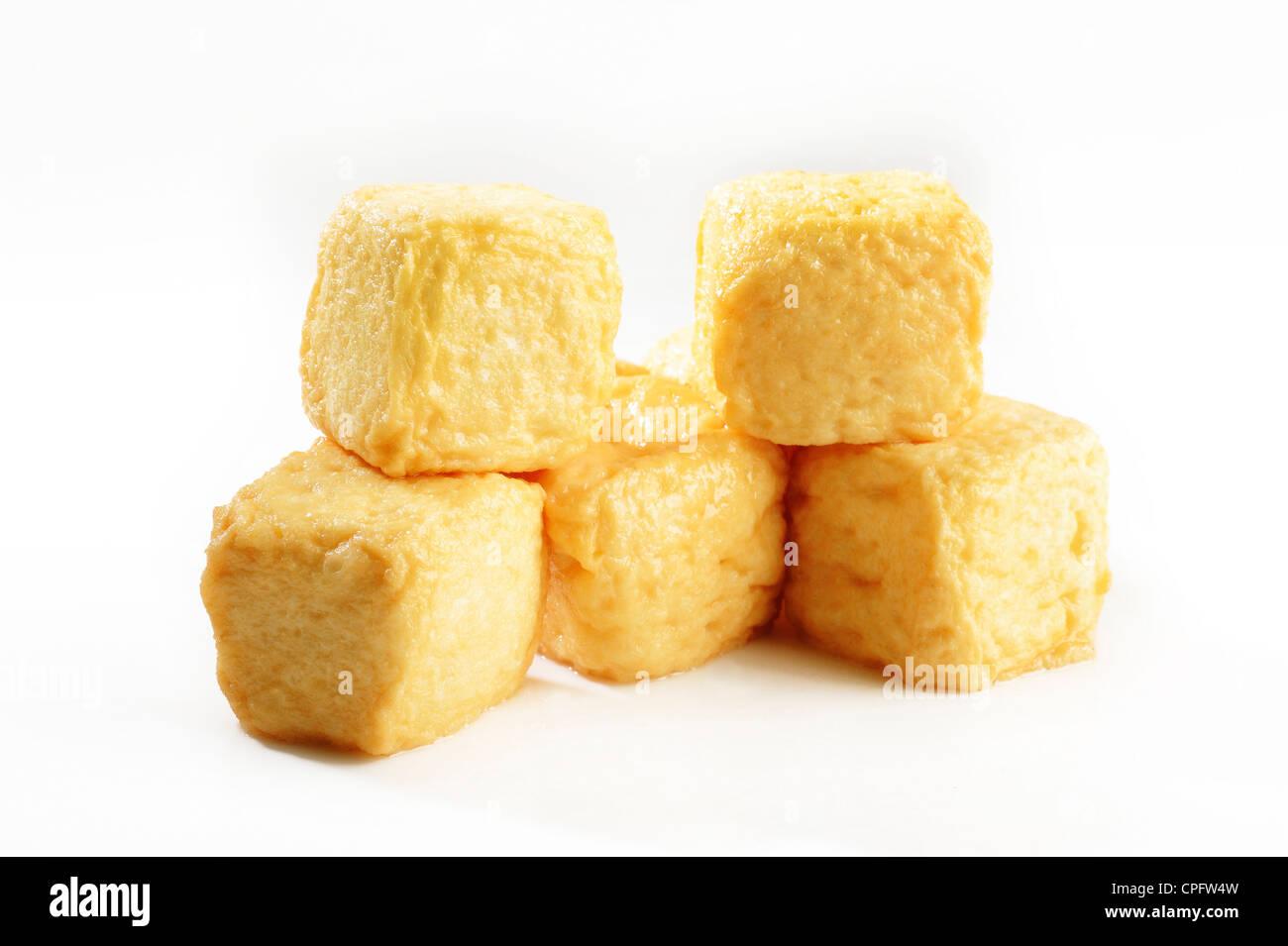 fish tofu on white background - Stock Image