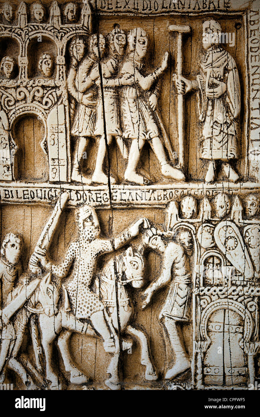 Tapestry that reproduces a Tablet of the Middle Ages with the names of Cantabria Cántabros in Parliament of - Stock Image