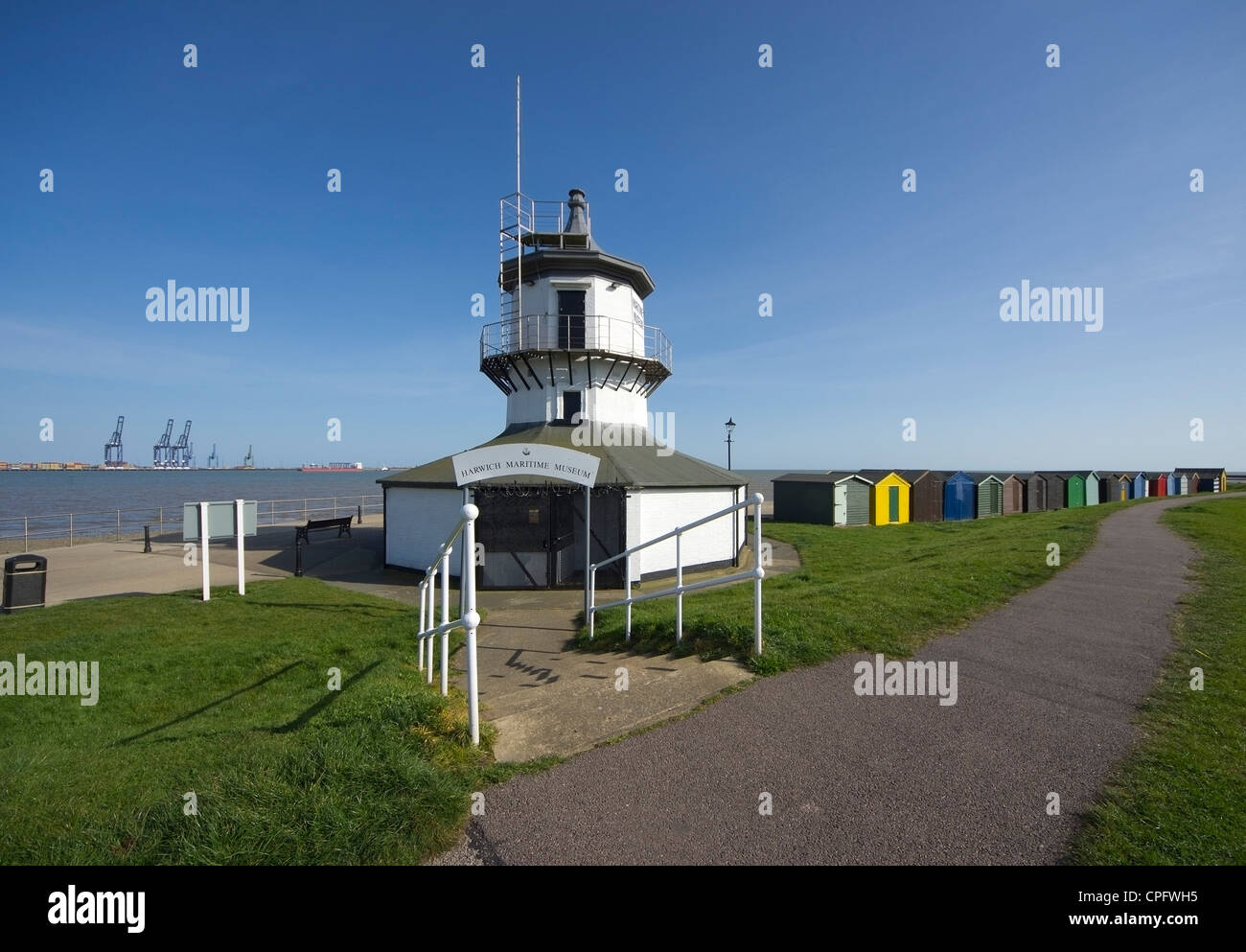The old Low Lighthouse on the waterfront of Harwich houses a Maritime Museum - Stock Image