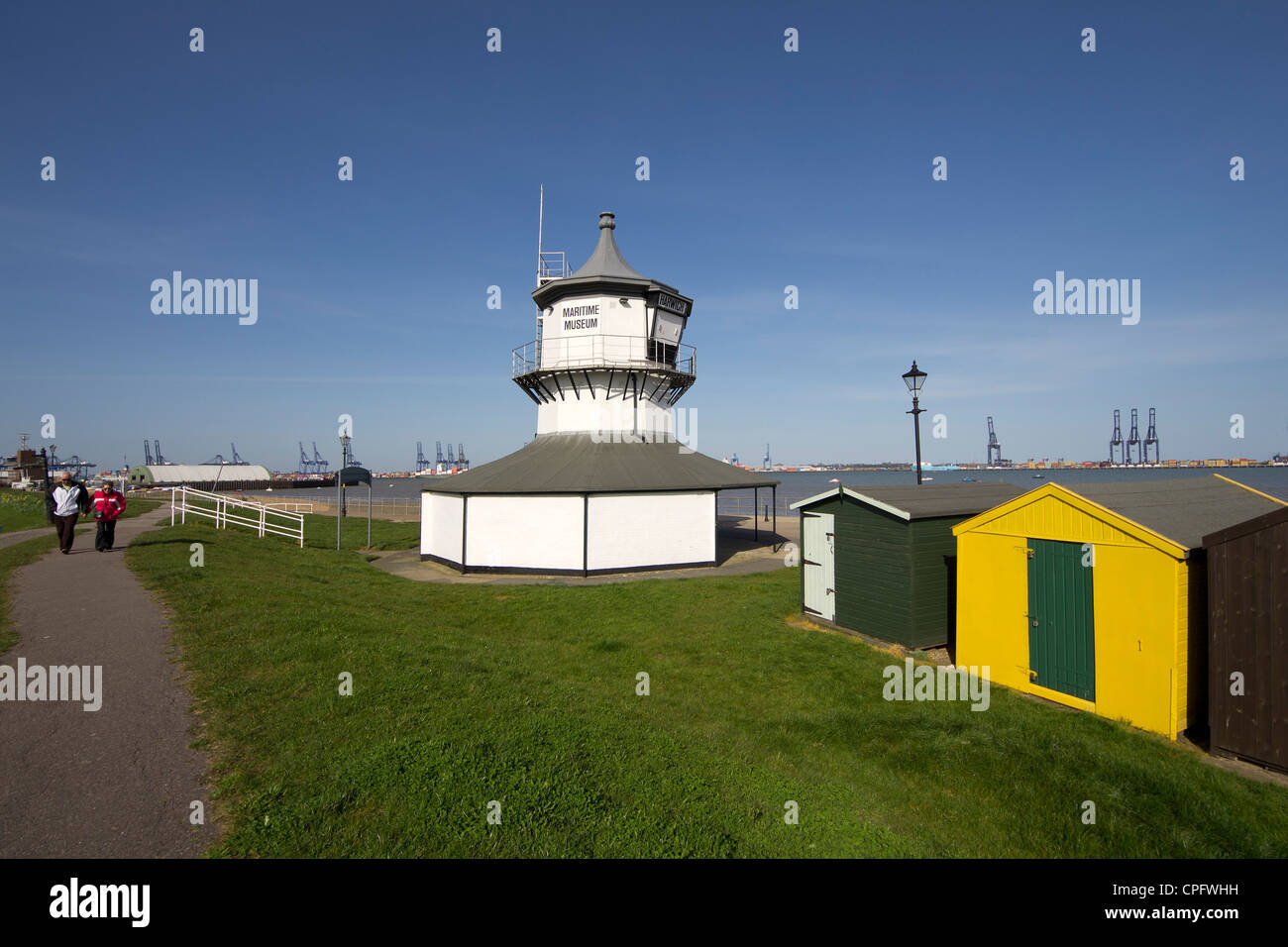 The old Low Lighthouse on the waterfront of Harwich houses a small Maritime Museum - Stock Image