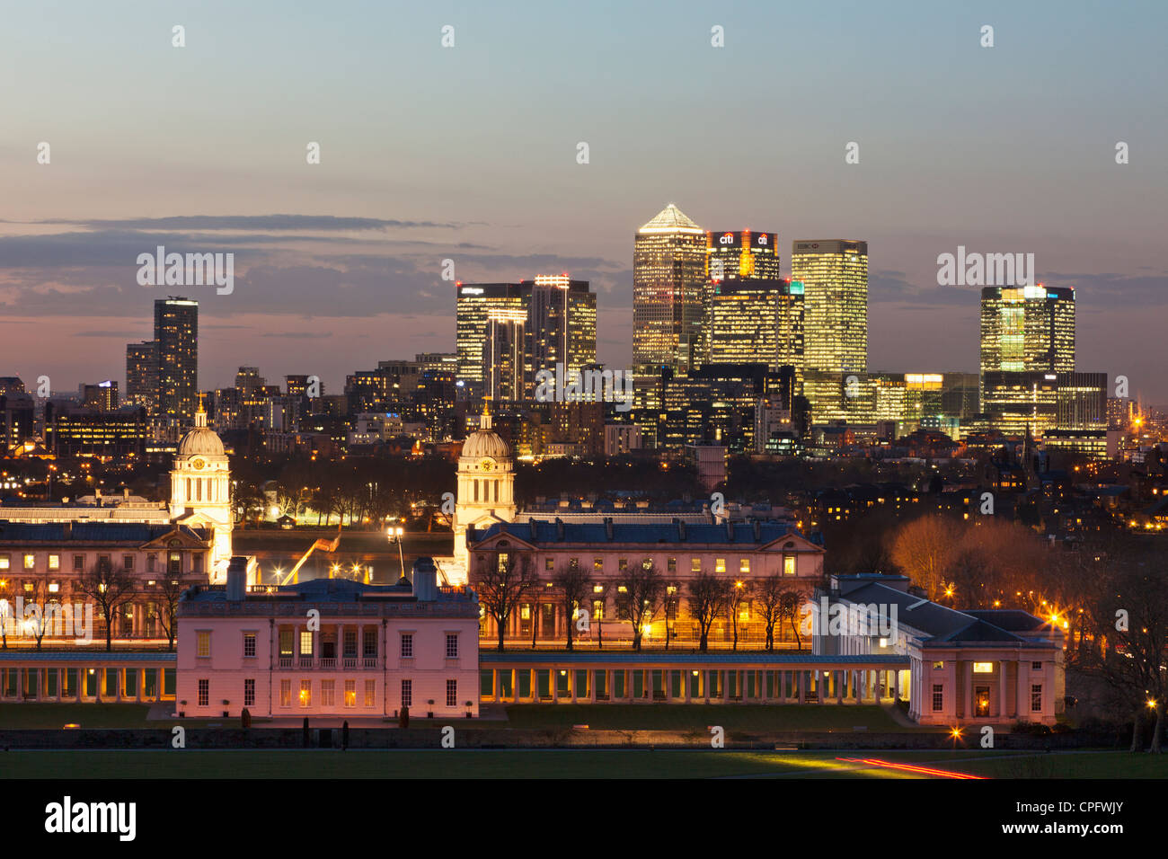 England, London, Greenwich, View of Docklands from Greenwich Park - Stock Image