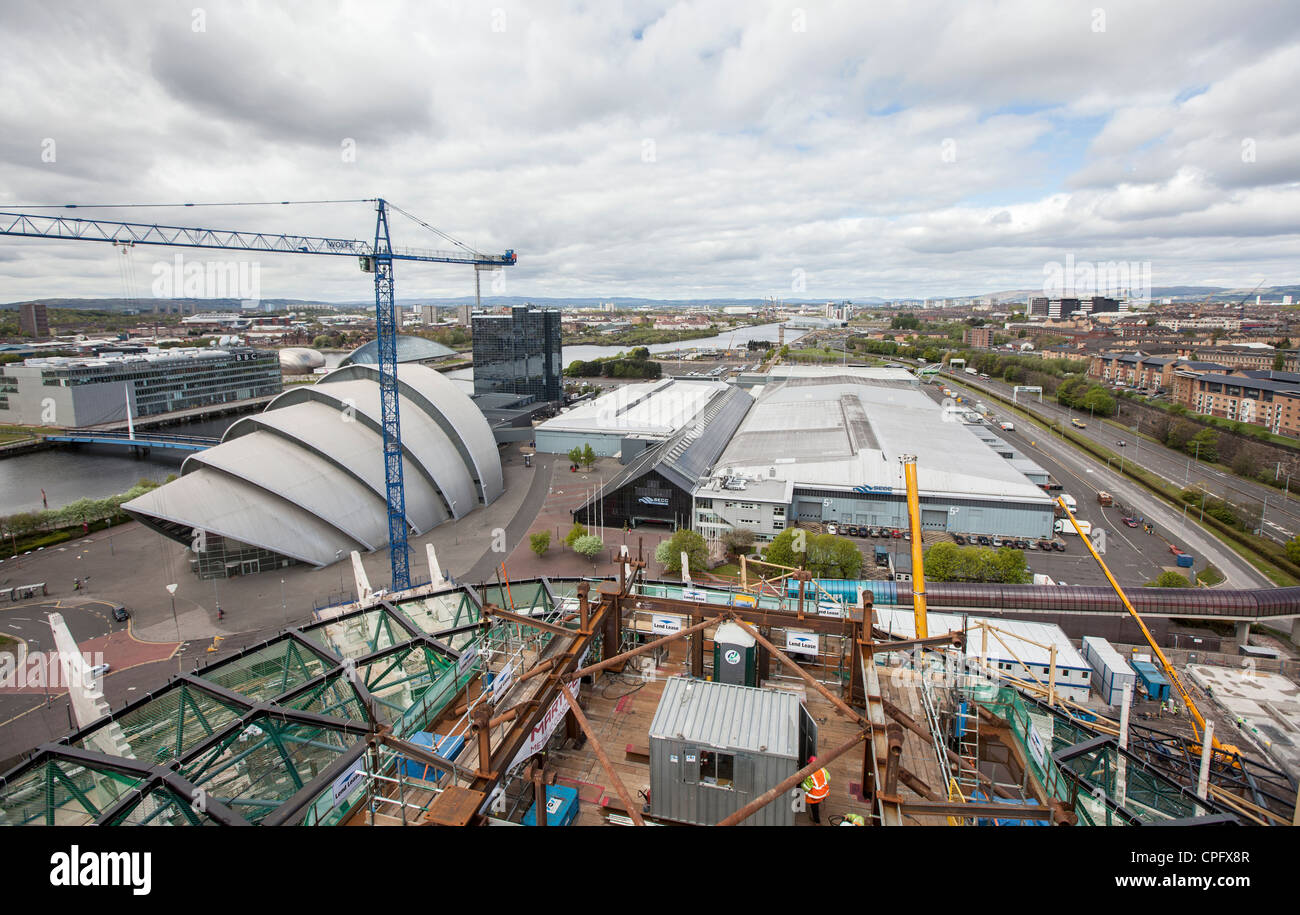 A view of the Scottish Exhibition Centre, Glasgow with the new music venue being constructed in the foreground. - Stock Image