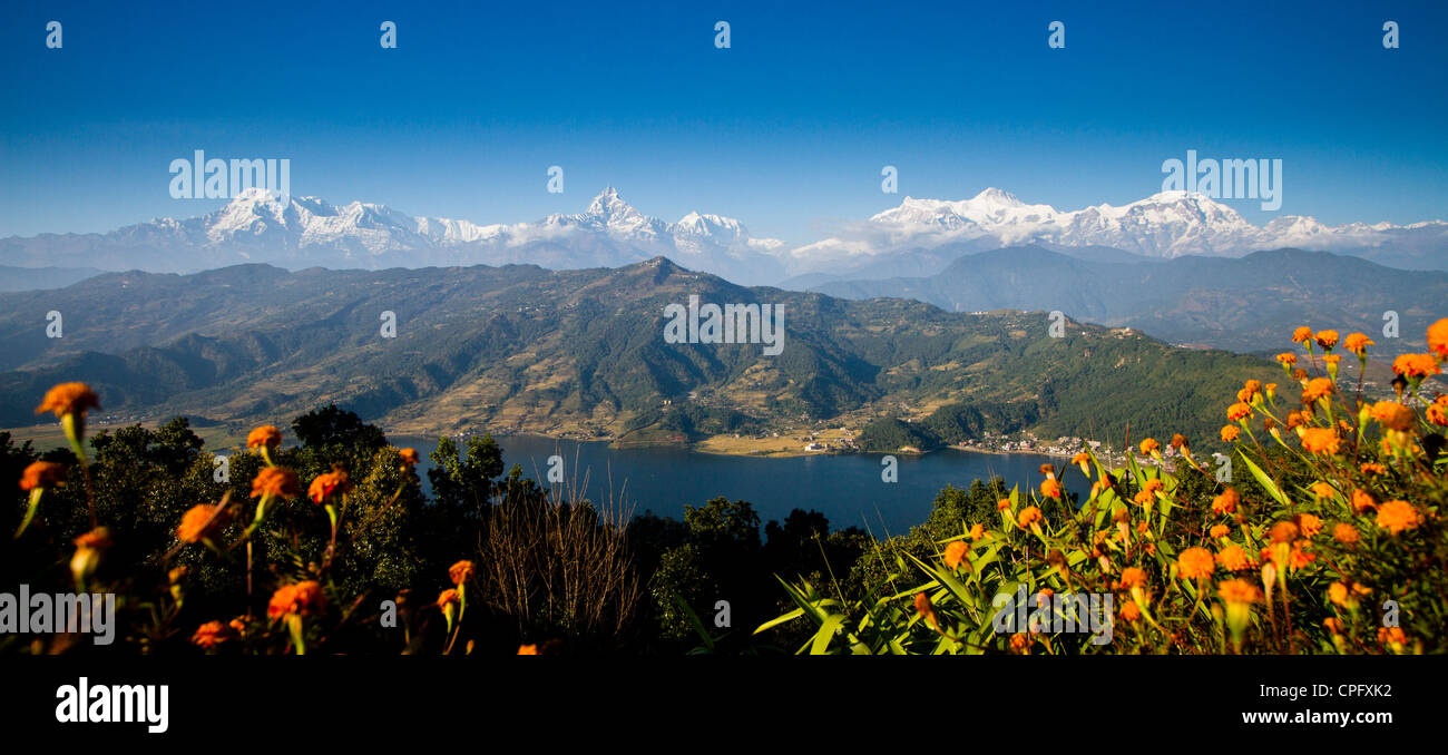 View of the Annapurna range and Phewa Tal lake from World Peace Pagoda, Pokhara, Nepal - Stock Image