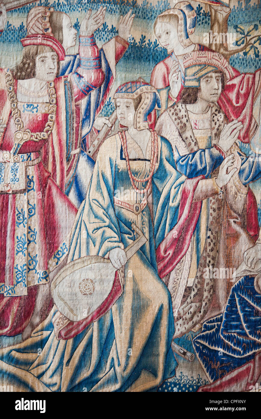 England, London, Surrey, Hampton Court Palace, Henry VIII's Apartments, The Great Hall, Giant Tapestry depicting Stock Photo