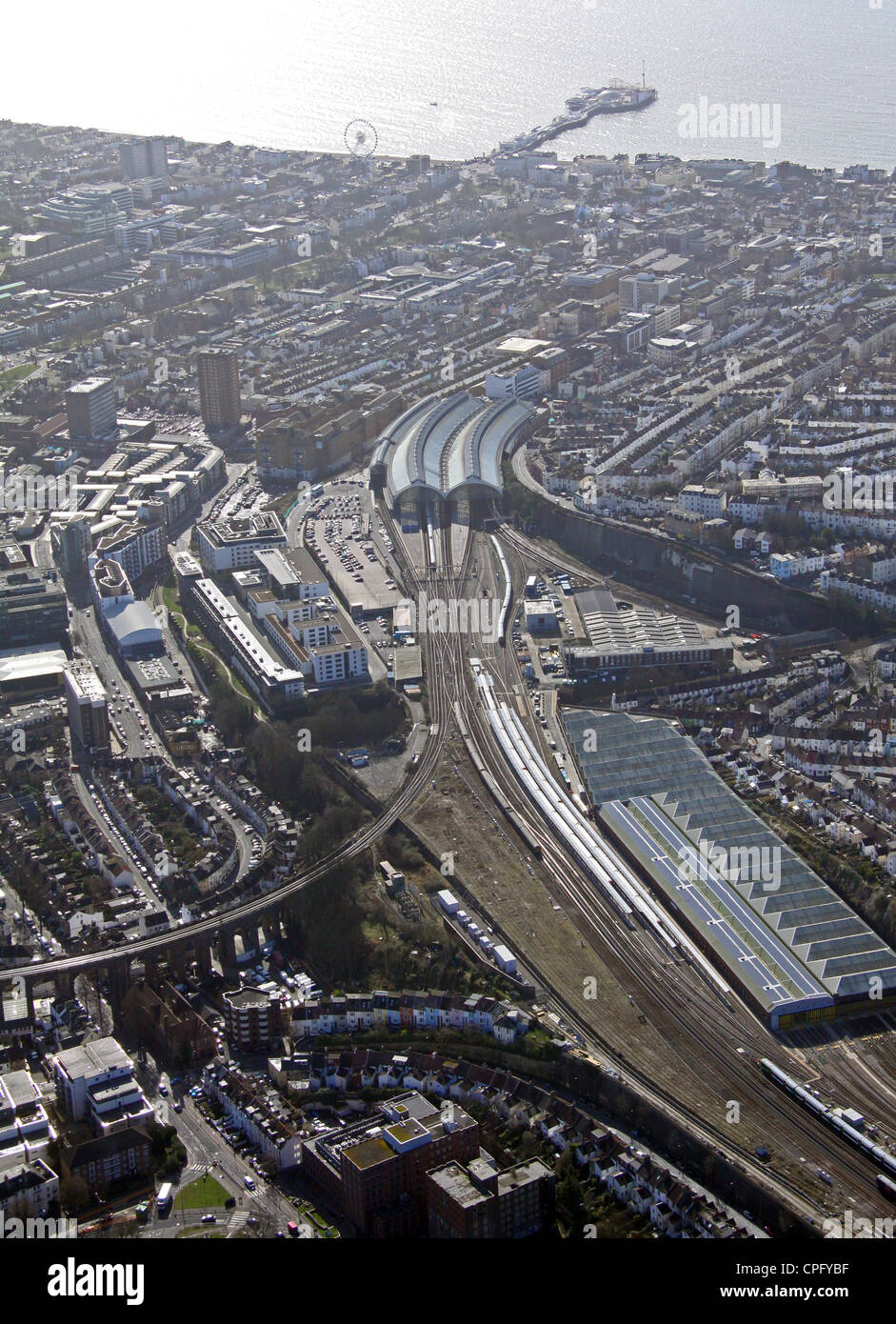 aerial view of Brighton railway station and Pier - Stock Image