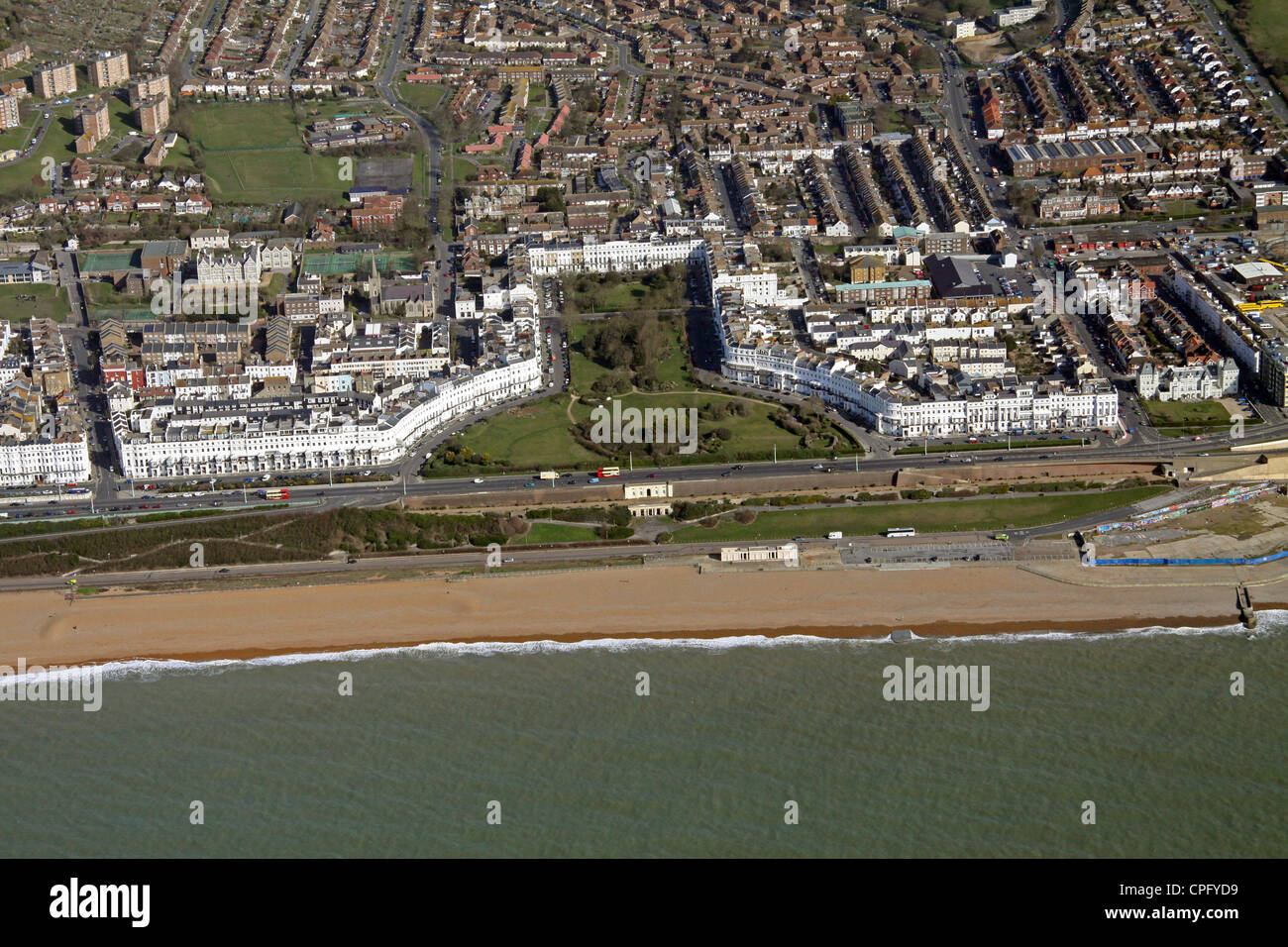 aerial view of Lewes Crescent, Brighton seafront - Stock Image
