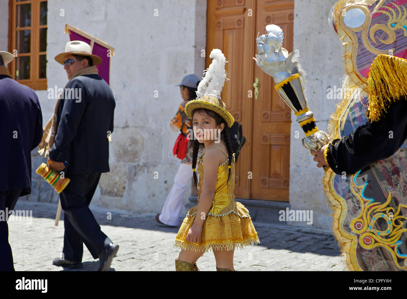 Wedding procession with traditionally dressed Peruvians, Arequipa, Peru - Stock Image