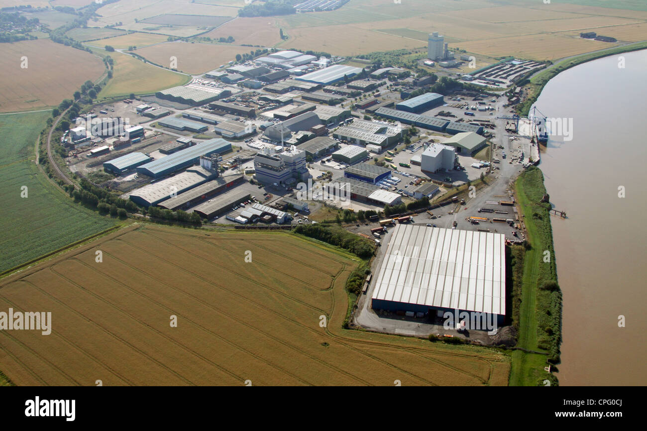 aerial view of Flixborough Wharf Steel Terminal, Lincolnshire - Stock Image