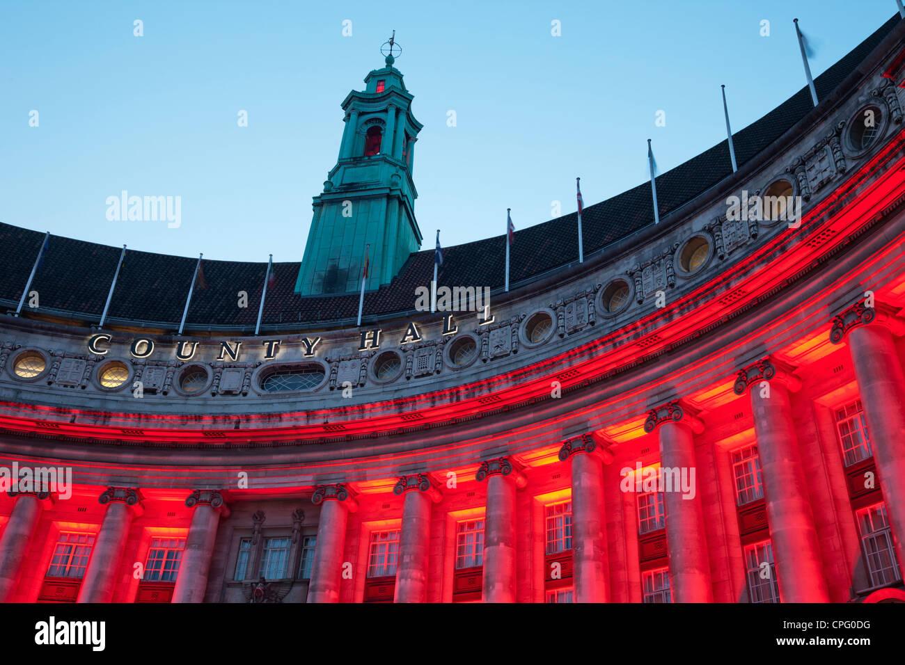 England, London, Embankment, County Hall Building - Stock Image