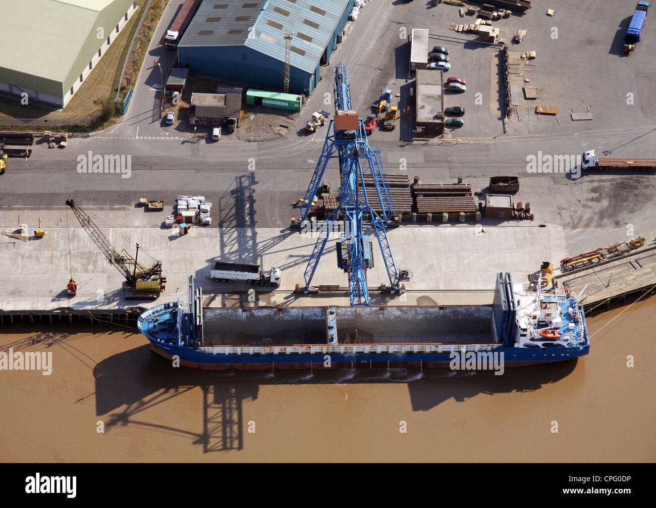 aerial view of a ship at Flixborough Docks, Lincolnshire, ready to be loaded with steel - Stock Image