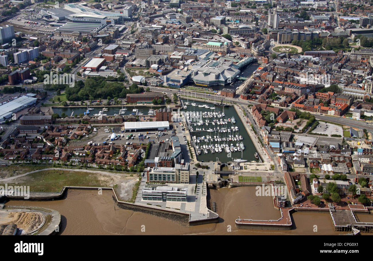 aerial view of Hull Marina and City Centre - Stock Image
