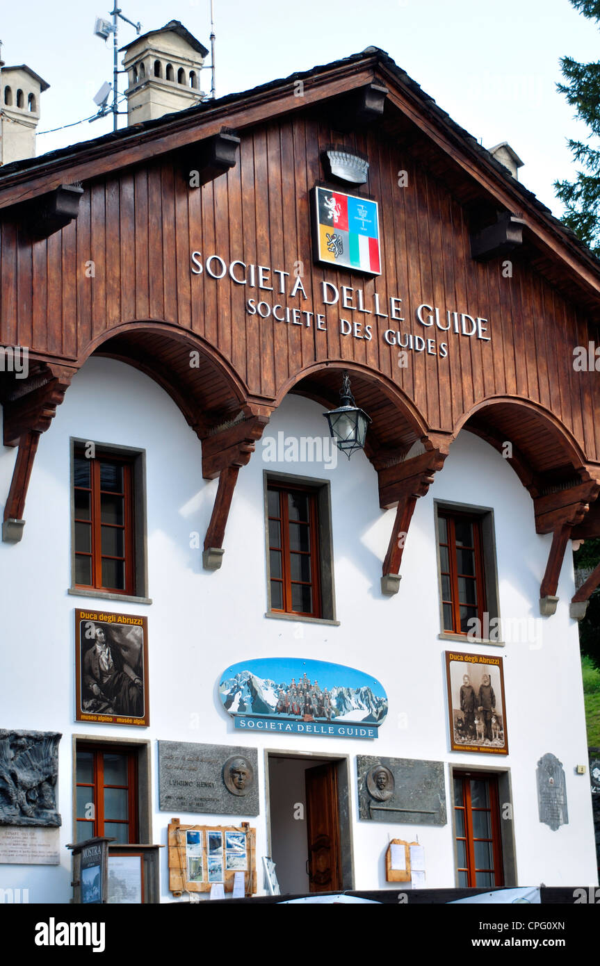 Italy,  Aosta valley, Courmayeur, Society of Alpine Guides Headquarters - Stock Image