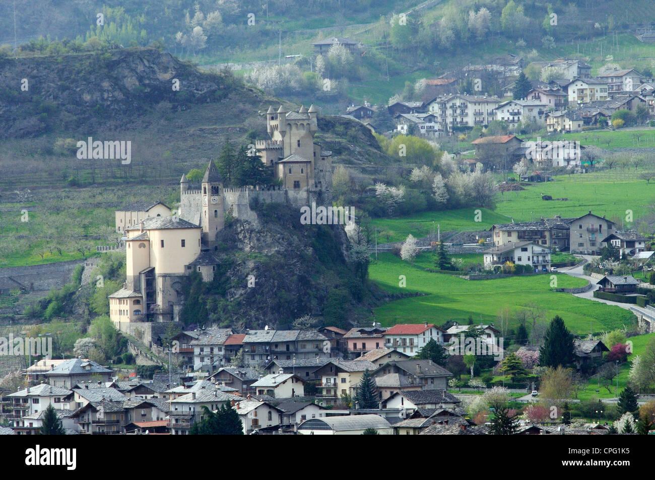 Italy, Aosta Valley, Saint-Pierre, Castle - Stock Image